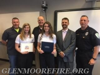 Alyssa King and Alexandra DiPaolo (accompanied by Past GMFC Fire Chief Mike King and current Assistant Chief/EMT Andy Chambers)