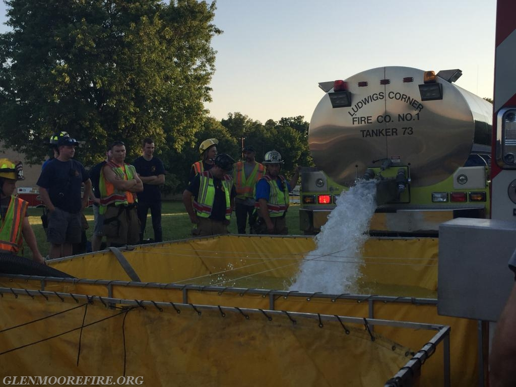 Tanker 73 unloading its water.