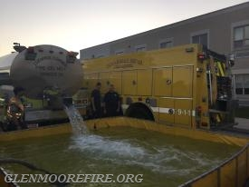Tanker 73 unloading its water.