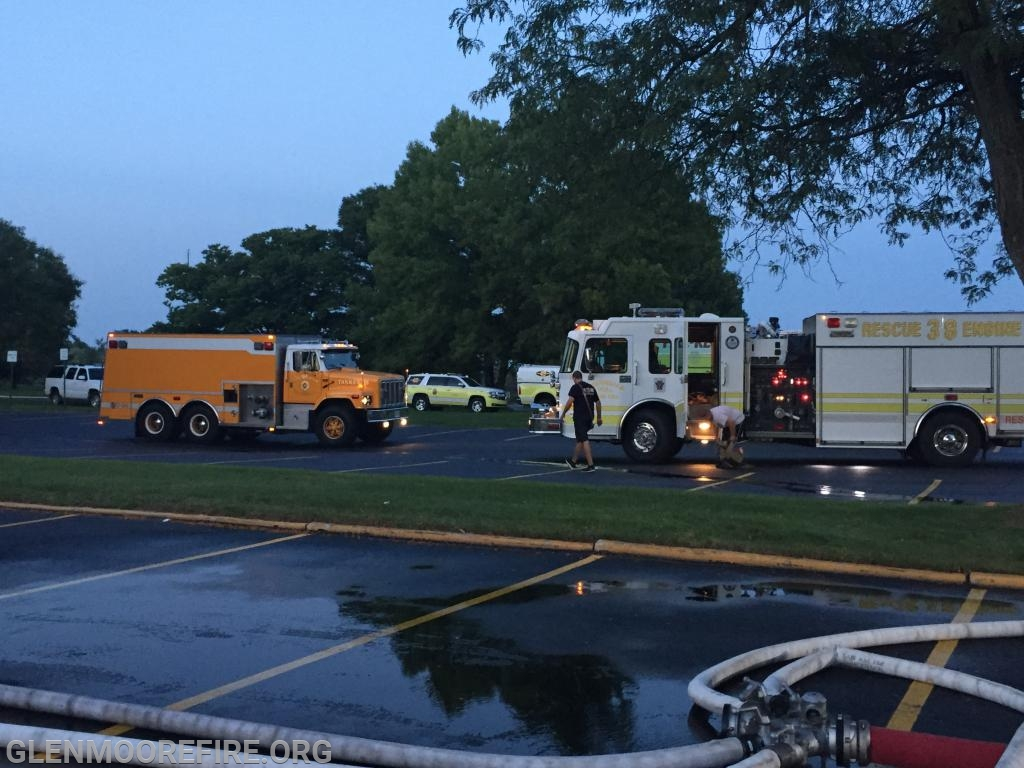 Tanker 39 and Rescue 38 staging for the drill.
