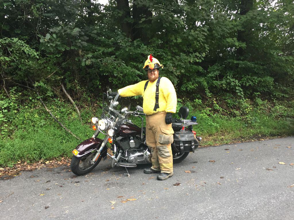 GMFC's own - Firefighter Dylan Seese as the chicken.