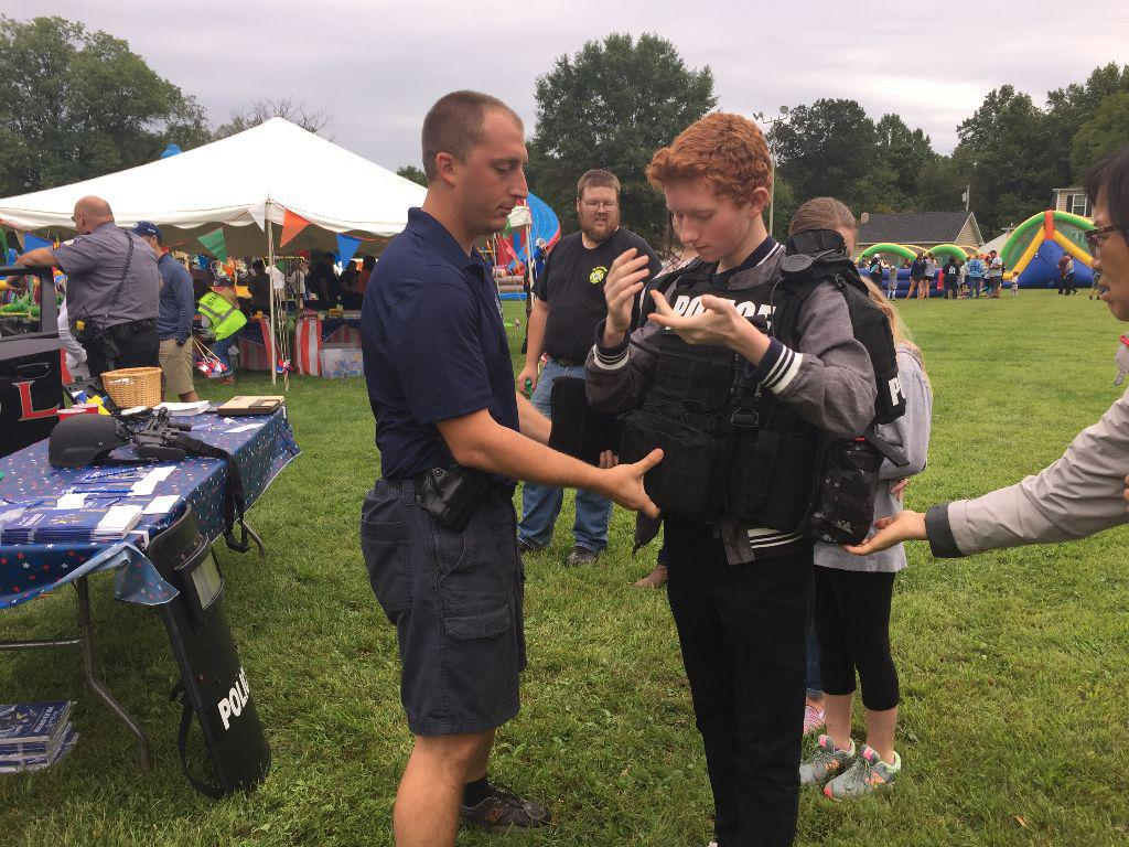 West Brandywine Police Officers interacting with the kids.