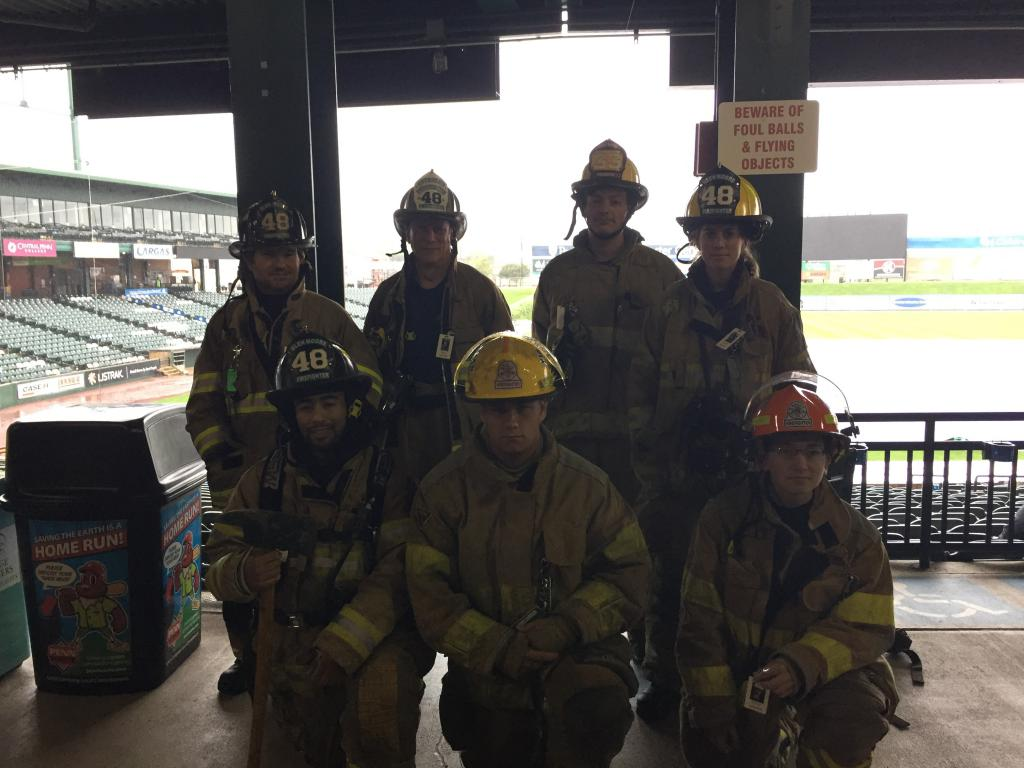Back Row (from left): FF Anthony Bocchicchio; Assistant Chief Andy Chambers; FF Will Fester (33); FF/EMT Cassidy Scheibe Bottom (from left) FF Victor Christie; Junior FF Nick Strong; Junior FF Nick DiPaolo