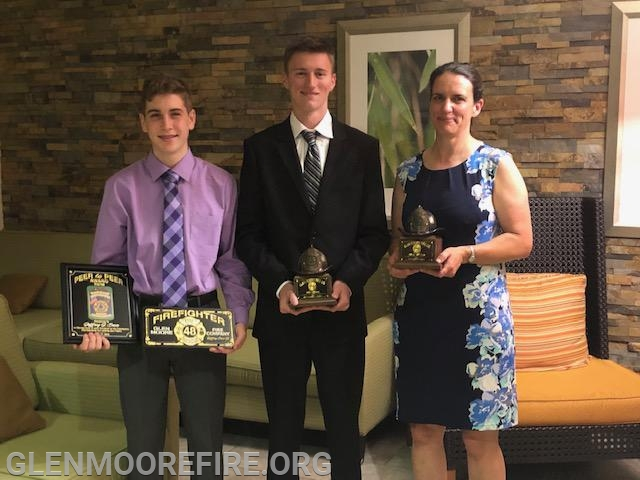From Left: Junior Firefighter of the Year, Jeffrey Seese EMS Responder of the Year, Max Quinn Firefighter of the Year Mary McCabe